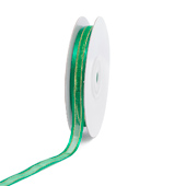 "3/8"" Organza with Satin And Gold Edge Ribbon - 25 Yards (Emerald Green)"