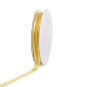 """3/8"""" Organza with Satin And Gold Edge Ribbon - 25 Yards (Canary)"""
