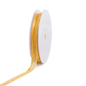 """3/8"""" Organza with Satin And Gold Edge Ribbon - 25 Yards (Light Gold)"""