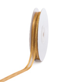"""3/8"""" Organza with Satin And Gold Edge Ribbon - 25 Yards (Antique Gold)"""