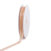 """3/8"""" Organza with Satin And Gold Edge Ribbon - 25 Yards (Light Peach)"""