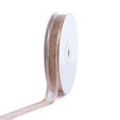 """5/8"""" Organza with Satin And Gold Edge Ribbon - 25 Yards (Toffee)"""