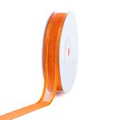 "5/8"" Organza with Satin And Gold Edge Ribbon - 25 Yards (Orange)"