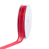 """5/8"""" Organza with Satin And Gold Edge Ribbon - 25 Yards (Red)"""