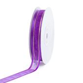 "5/8"" Organza with Satin And Gold Edge Ribbon - 25 Yards (Purple)"