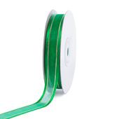 "5/8"" Organza with Satin And Gold Edge Ribbon - 25 Yards (Emerald Green)"