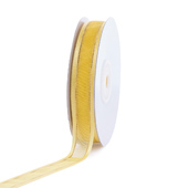 """5/8"""" Organza with Satin And Gold Edge Ribbon - 25 Yards (Canary)"""