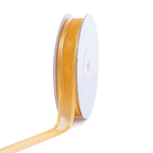 """5/8"""" Organza with Satin And Gold Edge Ribbon - 25 Yards (Light Gold)"""