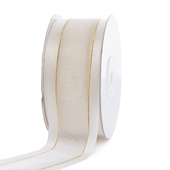 """1 1/2"""" Organza with Satin And Gold Edge Ribbon - 25 Yards (Antique White)"""