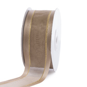 """1 1/2"""" Organza with Satin And Gold Edge Ribbon - 25 Yards (Toffee)"""