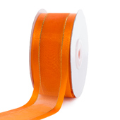 "1 1/2"" Organza with Satin And Gold Edge Ribbon - 25 Yards (Orange)"
