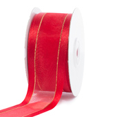 """1 1/2"""" Organza with Satin And Gold Edge Ribbon - 25 Yards (Red)"""