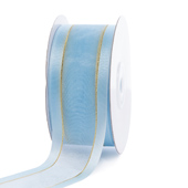 """1 1/2"""" Organza with Satin And Gold Edge Ribbon - 25 Yards (Light Blue)"""