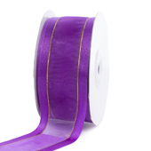 "1 1/2"" Organza with Satin And Gold Edge Ribbon - 25 Yards (Purple)"