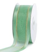 "1 1/2"" Organza with Satin And Gold Edge Ribbon - 25 Yards (Mint Green)"