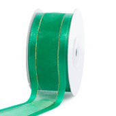 "1 1/2"" Organza with Satin And Gold Edge Ribbon - 25 Yards (Emerald Green)"