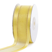 """1 1/2"""" Organza with Satin And Gold Edge Ribbon - 25 Yards (Canary)"""