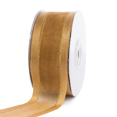 """1 1/2"""" Organza with Satin And Gold Edge Ribbon - 25 Yards (Antique Gold)"""