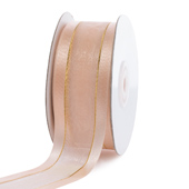"""1 1/2"""" Organza with Satin And Gold Edge Ribbon - 25 Yards (Light Peach)"""