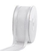 "1 1/2"" Organza with Satin & Silver Edge Ribbon - 25 Yards (White)"