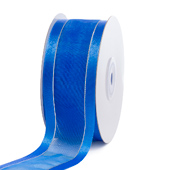"1 1/2"" Organza with Satin & Silver Edge Ribbon - 25 Yards (Royal Blue)"