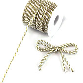 3mm 2 Ply Twist Cords - 25 Yards (White/Gold)