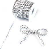 3mm 2 Ply Twist Cords - 25 Yards (White/Silver)