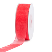 "7/8"" Plain Organza Sheer Ribbons - 25 Yards (Coral)"