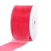 """1 1/2"""" Plain Organza Sheer Ribbons - 25 Yards (Coral)"""