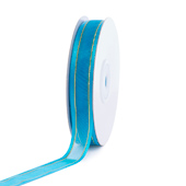 """5/8"""" Organza with Satin And Gold Edge Ribbon - 25 Yards (Turquoise)"""