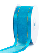 """1 1/2"""" Organza with Satin And Gold Edge Ribbon - 25 Yards (Turquoise)"""
