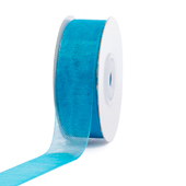 "7/8"" Plain Organza Sheer Ribbons - 25 Yards (Turquoise)"
