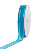 """5/8"""" Organza with Satin & Silver Edge Ribbon - 25 Yards (Turquoise)"""