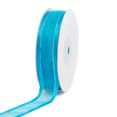 """7/8"""" Organza with Satin & Silver Edge Ribbon - 25 Yards (Turquoise)"""