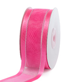 "1 1/2"" Organza with Satin & Silver Edge Ribbon - 25 Yards (Hot Pink)"