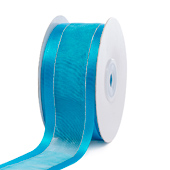 "1 1/2"" Organza with Satin & Silver Edge Ribbon - 25 Yards (Turquoise)"