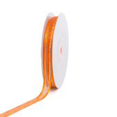 "3/8"" Organza with Satin & Silver Edge Ribbon - 25 Yards (Orange)"