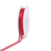 "3/8"" Organza with Satin & Silver Edge Ribbon - 25 Yards (Red)"