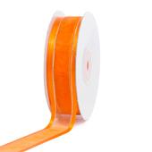 "7/8"" Organza with Satin & Silver Edge Ribbon - 25 Yards (Orange)"
