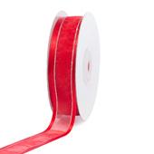 "7/8"" Organza with Satin & Silver Edge Ribbon - 25 Yards (Red)"