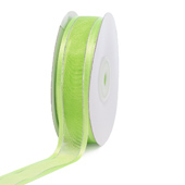 "7/8"" Organza with Satin & Silver Edge Ribbon - 25 Yards (Apple Green)"