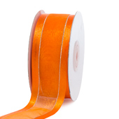 "1 1/2"" Organza with Satin & Silver Edge Ribbon - 25 Yards (Orange)"