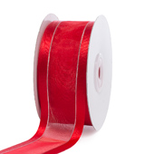"1 1/2"" Organza with Satin & Silver Edge Ribbon - 25 Yards (Red)"