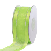 "1 1/2"" Organza with Satin & Silver Edge Ribbon - 25 Yards (Apple Green)"