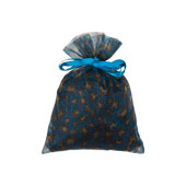 """5"""" x 6.5""""  Organza Leopard Pouch-Sold by a Dozen Pieces ( 6 Pieces/Inner Pack) (Turquoise/Yellow)"""
