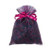"""6"""" x 9""""  Organza Leopard Pouch-Sold by a Dozen Pieces ( 6 Pieces/Inner Pack) (Fuchsia/Turquoise)"""