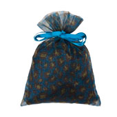 """6"""" x 9""""  Organza Leopard Pouch-Sold by a Dozen Pieces ( 6 Pieces/Inner Pack) (Turquoise/Yellow)"""