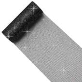 "6"" Glitter Tulle Spool - 10 Yards (Black/Silver)"