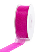 "7/8"" Plain Organza Sheer Ribbons - 25 Yards (Fuchsia)"
