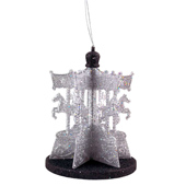 "3.75""X4.75"" Glitter Carousel Decoration - Piece (Black/Silver)"